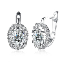 Load image into Gallery viewer, Swarovski Crystal Circular Leverback Earrings Set in 18K White Gold Plated
