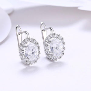 Swarovski Crystal Circular Leverback Earrings Set in 18K White Gold Plated