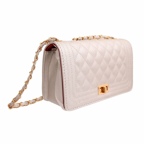 Elegant Silver Rectangle Quilted Crossbody