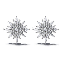 Load image into Gallery viewer, Sterling Silver Starburst Stud Earrings With Swarovski Crystals