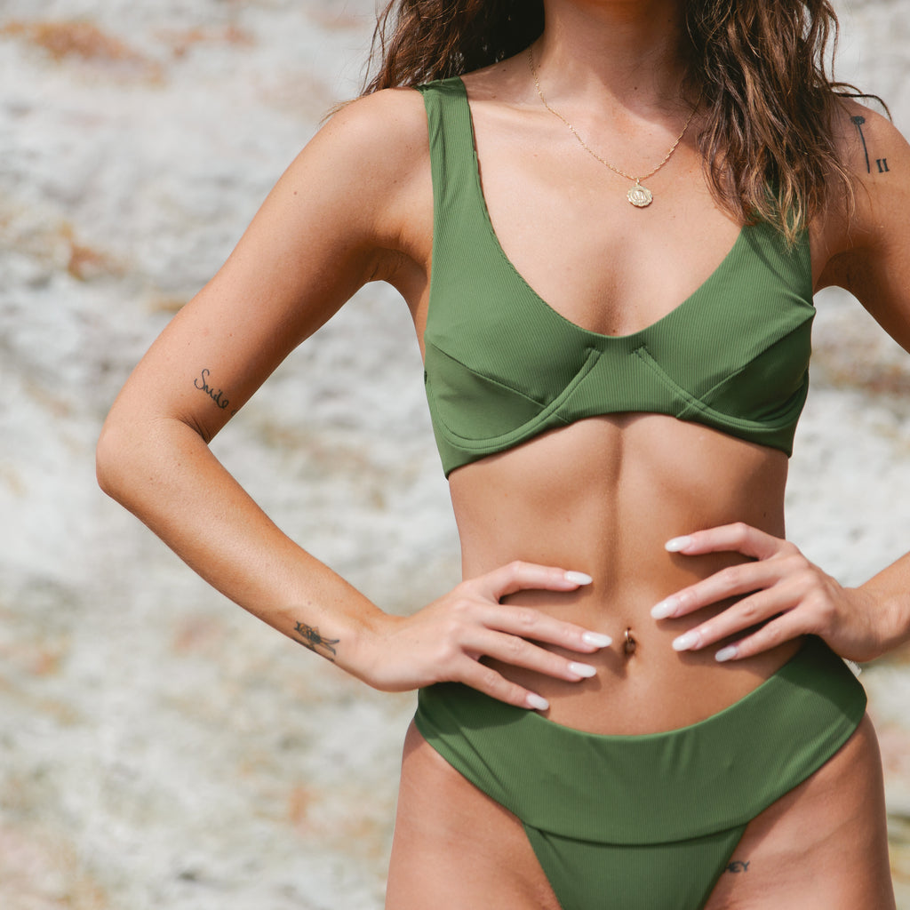 Kellee Underwire Top //  Olive Ribbed