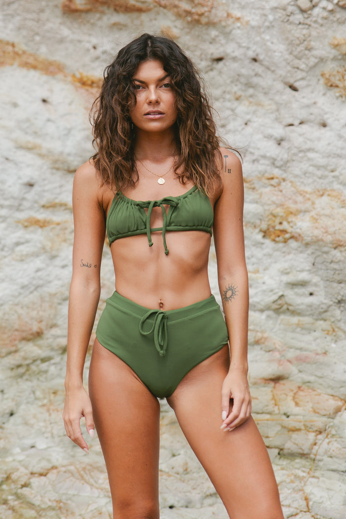Margot Mid Rise Bottom // Olive Ribbed
