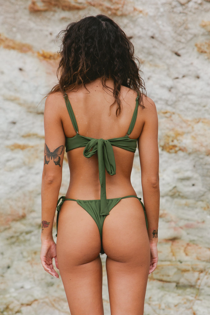 Emma Tie Bottom // Olive Ribbed