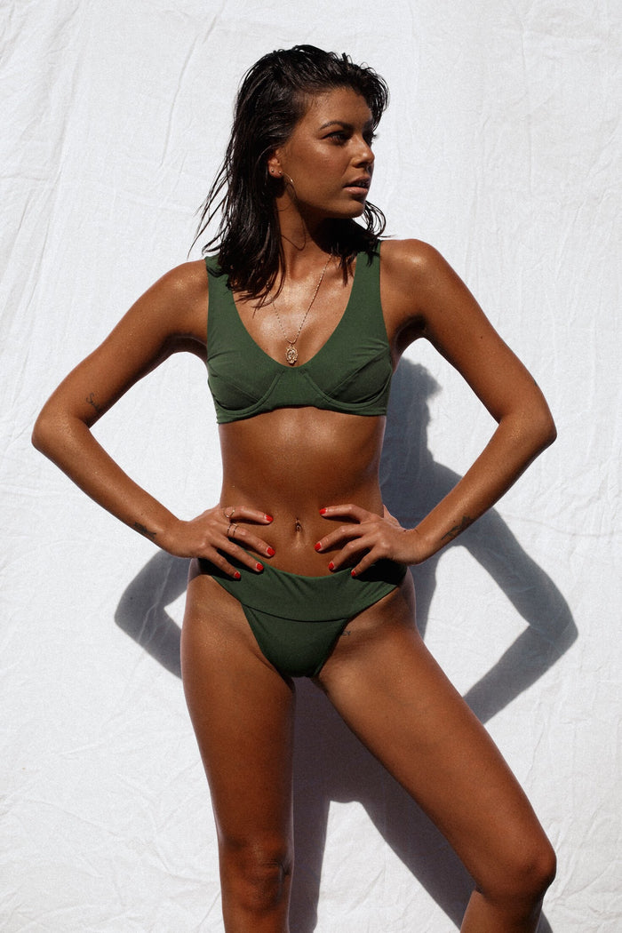 Kendall Waistband Bottom // Seaweed Green