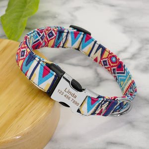 Custom Dog Collar Personalized Nylon Light Blue