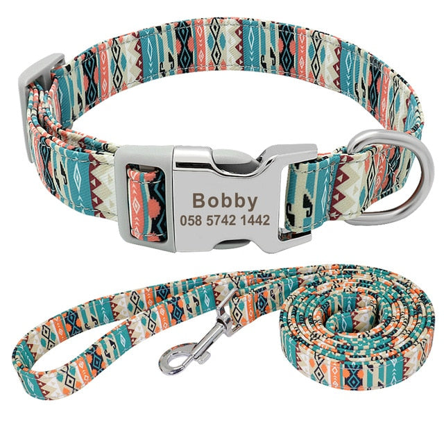 Dog Collar Nylon Personalized Green