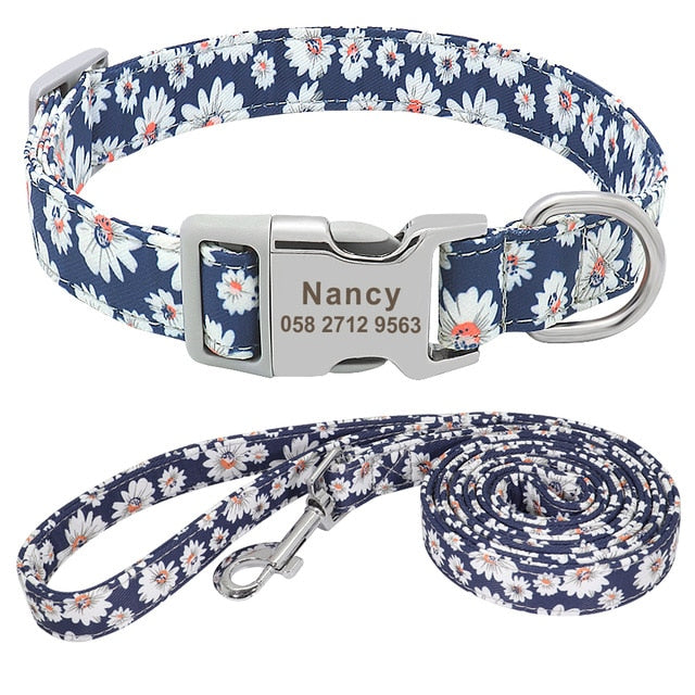 Dog Collar Nylon Personalized Blue