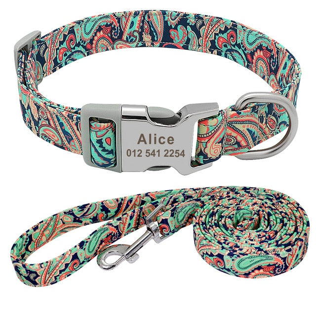 Customized Pet Collar Nylon Personalized Green