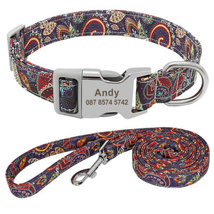 Customized Pet Collar Nylon Personalized Purple
