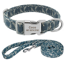 Customized Dog Collar Nylon Personalized Blue