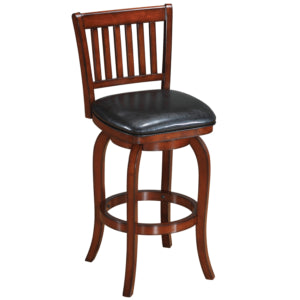 BACKED SWIVEL BAR STOOL WOOD BACKED
