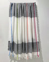 Scarf -  White Cotton with Neon Stripes & black grid pattern