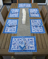 Placemat/Napkin Set -Block Print Blue