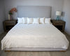 Organdy Cut Work Bed Cover - White with Black Stitching