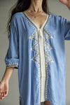 Karim Bouriad Embroidered Tunic - Sky Blue
