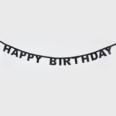 Black Glitter Happy Birthday Garland (6 ft)