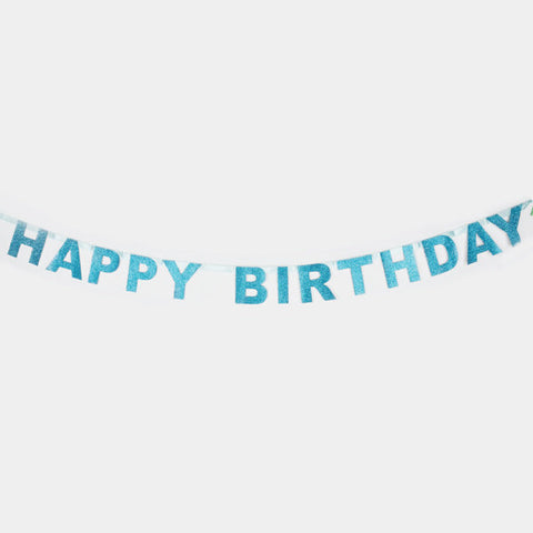 Blue Glitter Happy Birthday Garland (6 ft)