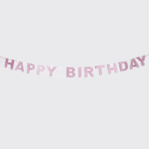 Pink Glitter Happy Birthday Garland (6 ft)