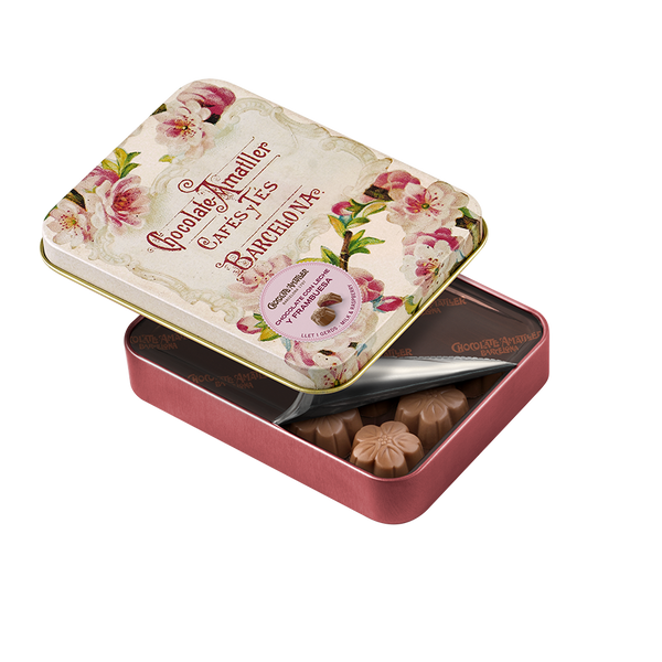 Milk Chocolate Raspberry Flowers Leaves in Tin