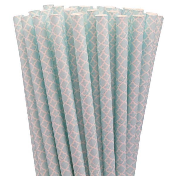 LACE PAPER STRAWS-BABY BLUE