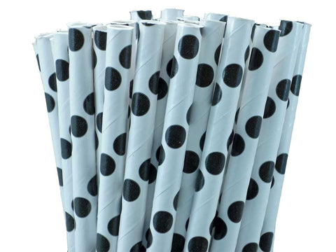 POLKA DOT PAPER STRAWS-BLACK