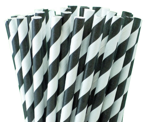 BLACK LICORICE STRIPED PAPER STRAWS