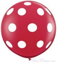 Polka Dot Red Giant Round Balloon with Ribbon Tassel