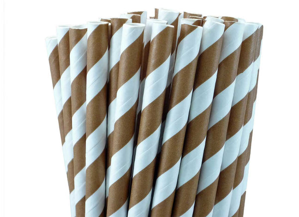 CHOCOLATE BROWN STRIPED PAPER STRAWS