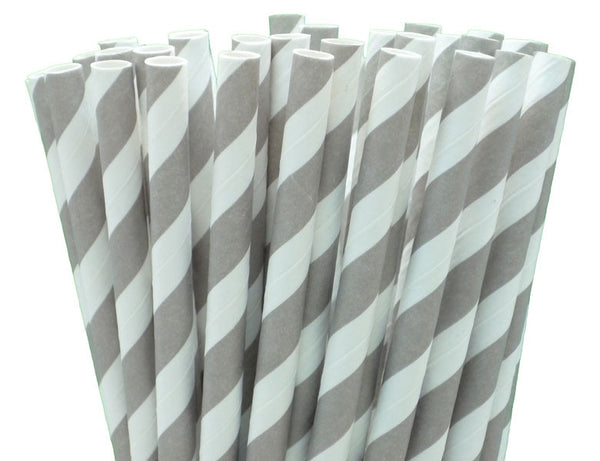 FRENCH GREY STRIPE PAPER STRAWS