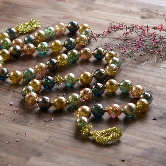 Gold Brushed Tinsel Ball Garland