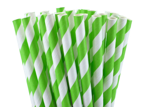 GREEN APPLE STRIPED PAPER STRAWS