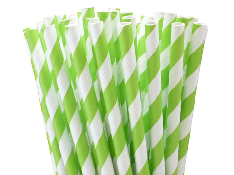 LIME STRIPED PAPER STRAWS