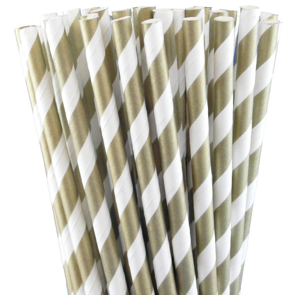 METALLIC GOLD STRIPED PAPER STRAWS
