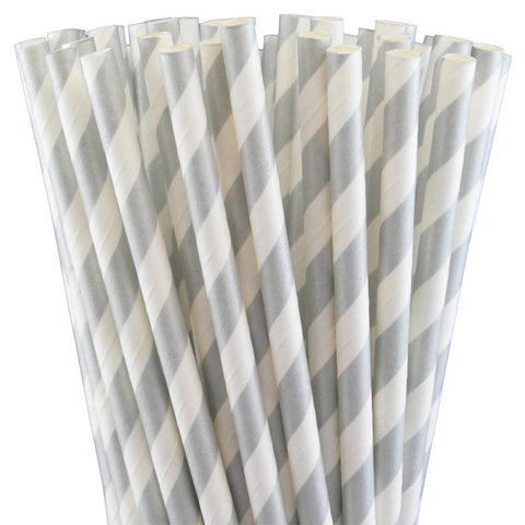 METALLIC SILVER STRIPED PAPER STRAWS