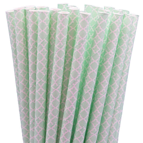LACE PAPER STRAWS-MINT