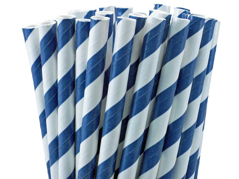 NAVY STRIPE PAPER STRAWS