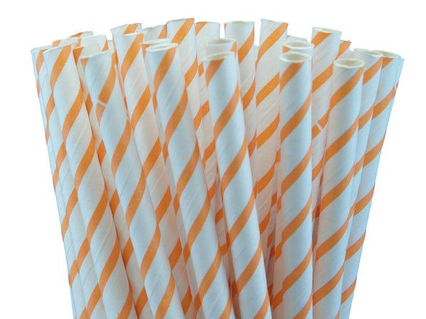 THIN ORANGE STRIPED PAPER STRAWS