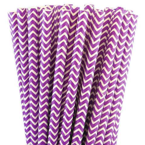 CHEVRON PRINT PAPER STRAWS-PURPLE