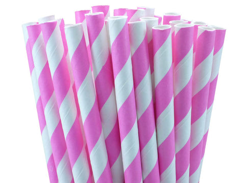 BUBBLEGUM PINK STRIPED PAPER STRAWS