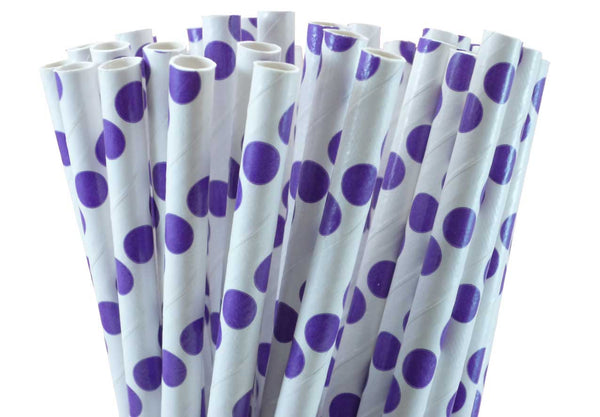 POLKA DOT PAPER STRAWS-PURPLE