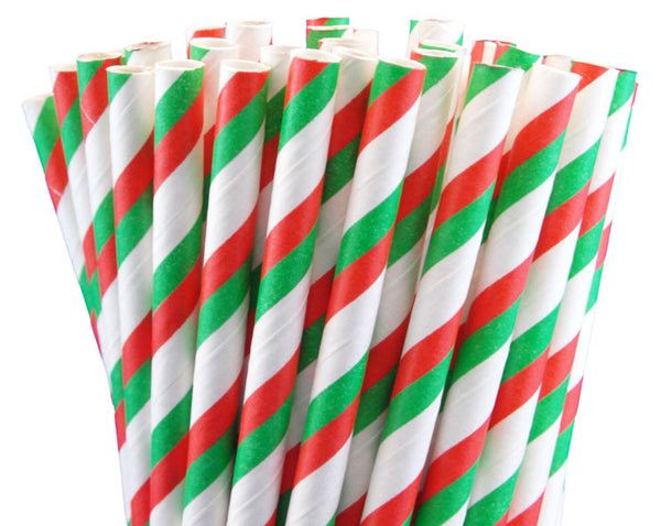 RED, GREEN & WHITE STRIPED PAPER STRAWS