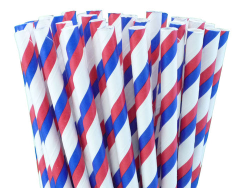 RED, WHITE & BLUE STRIPED PAPER STRAWS