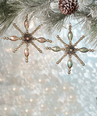 Pastel Large Beaded Glass Starburst Ornament