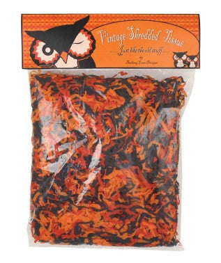 Vintage Tricolor Halloween Shredded Paper
