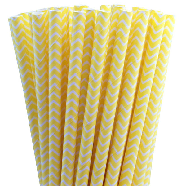 CHEVRON PRINT PAPER STRAWS-YELLOW