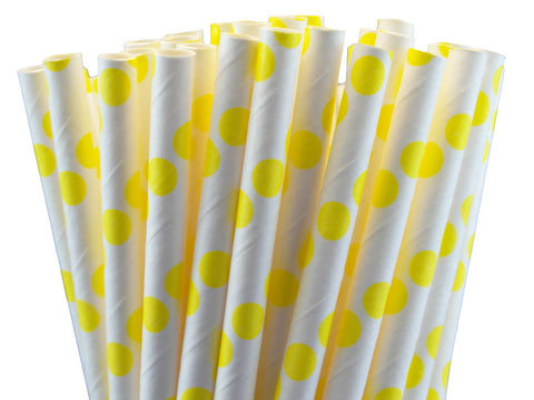 POLKA DOT PAPER STRAWS-YELLOW