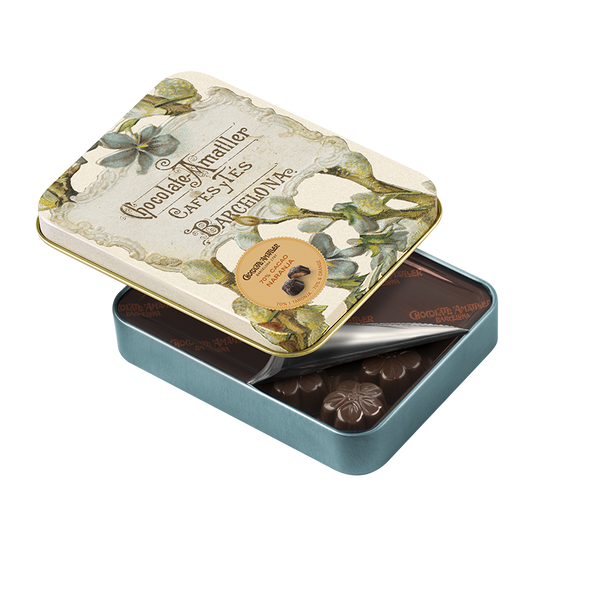Dark Chocolate Orange Flower Leaves in Tin 72g