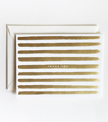 GOLD PAINTED STRIPES THANK YOU CARD