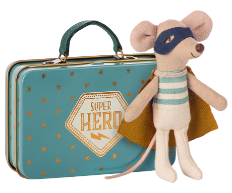Superhero Mouse with Suitcase