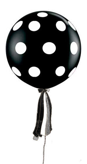 Polka Dot Black Giant Round Balloon with Ribbon Tassel